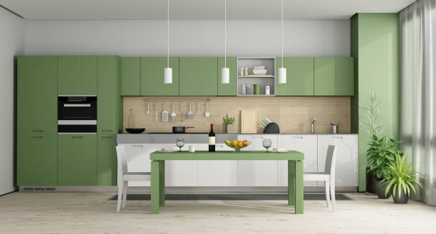 Green and white modern kitchen - 3d rendering - foto stock