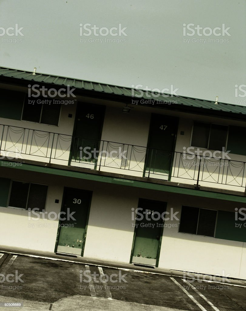 Green and White Motel royalty-free stock photo