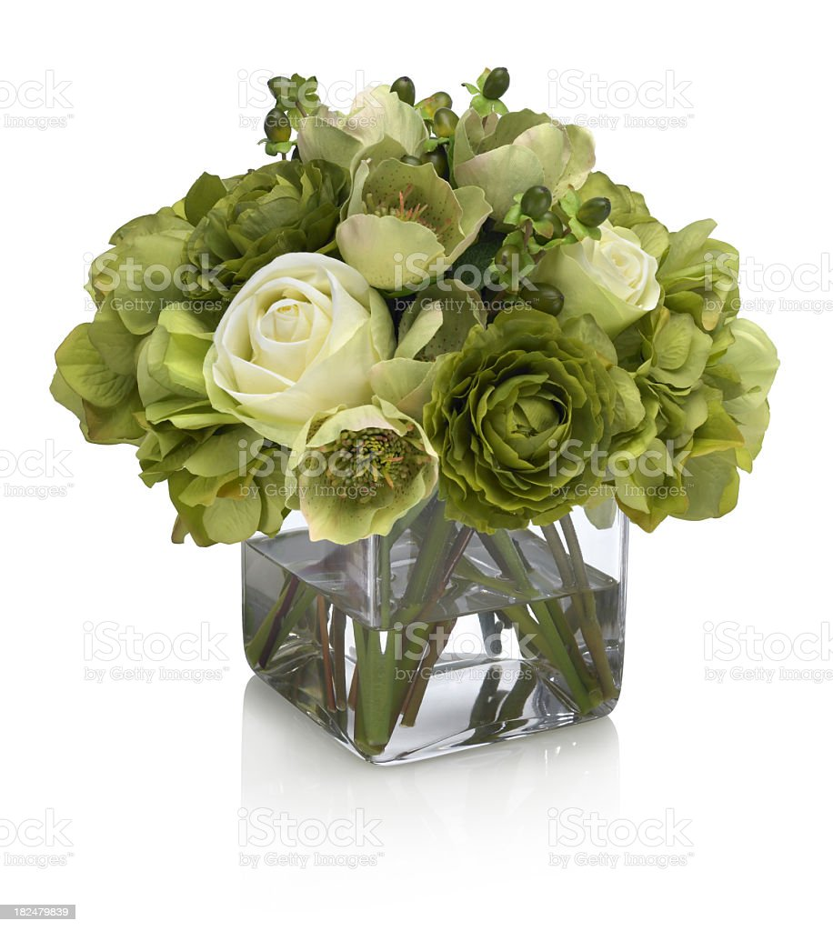 Green and white roses with hydrangea bouquet on white background royalty-free stock photo
