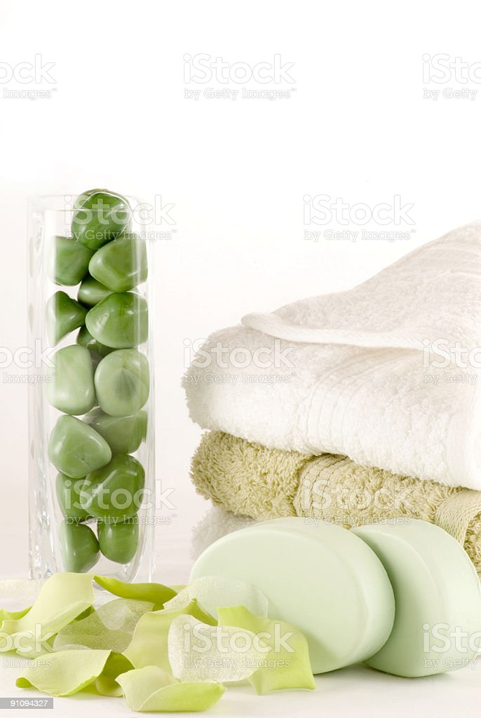 Green and White Shower Collection stock photo