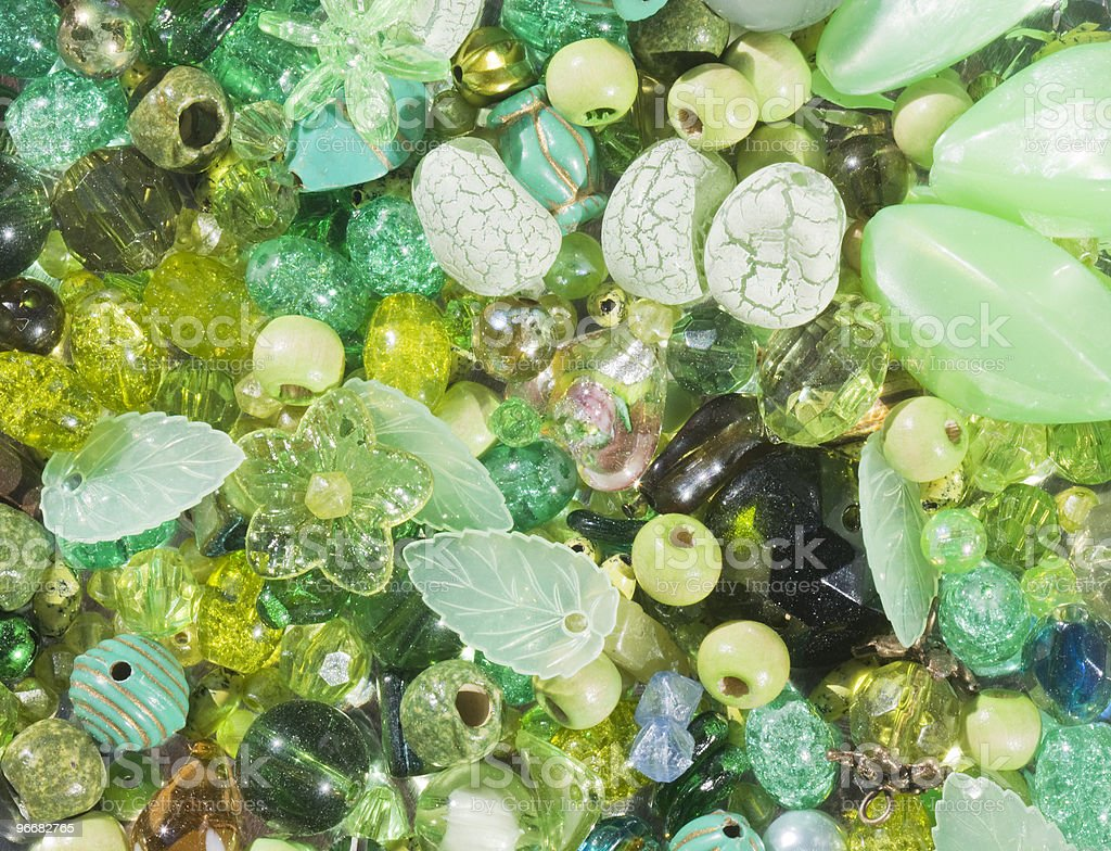 Green and yellow beads. royalty-free stock photo