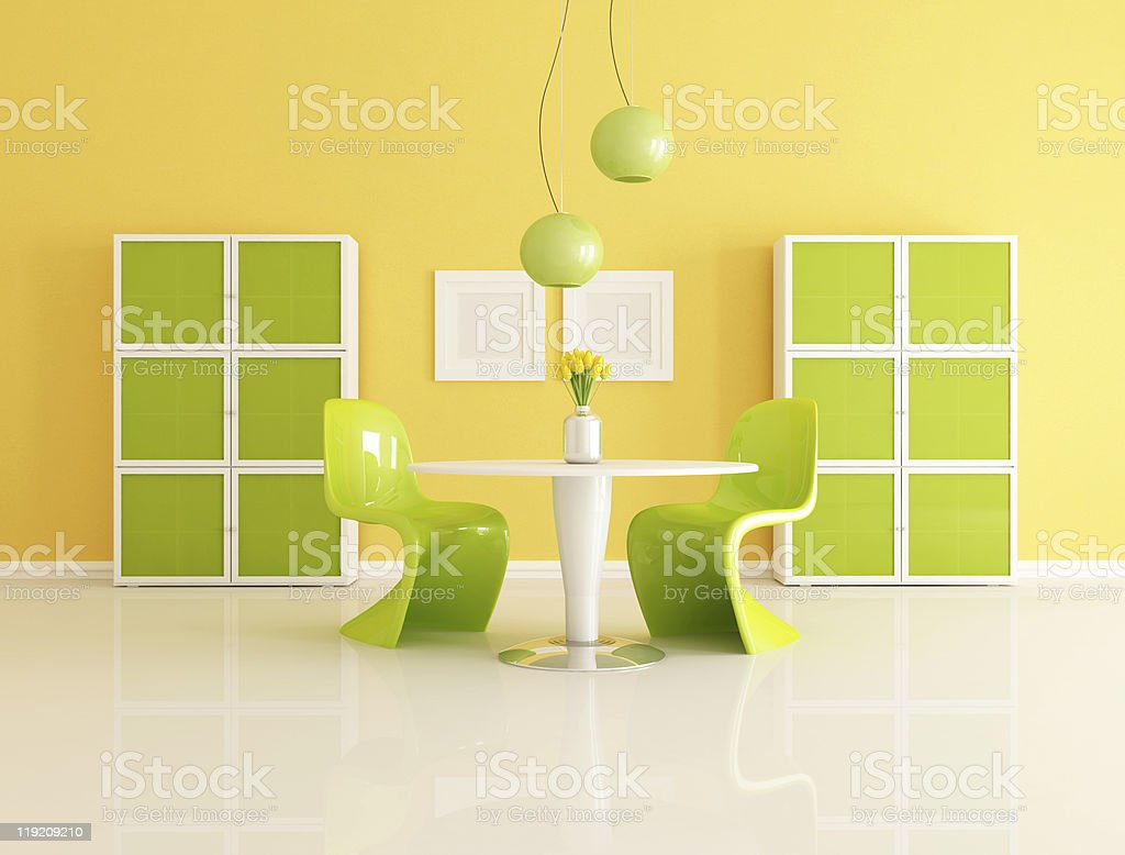 green and yellow dining room royalty-free stock photo