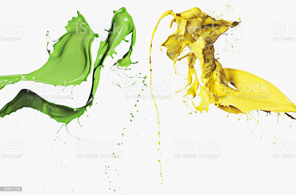 Green and yellow paint stock photo