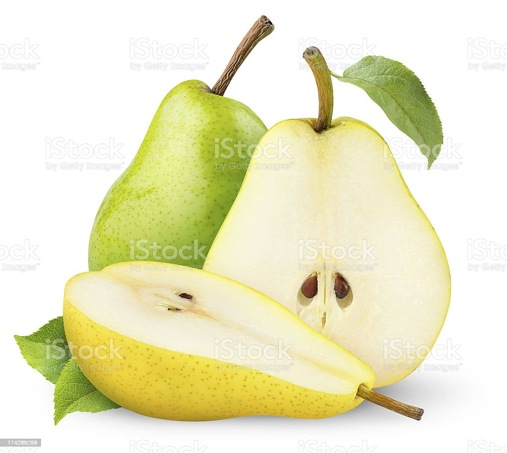 Green and yellow pears stock photo