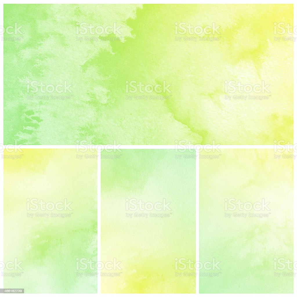 Green and yellow watercolor abstract pictures stock photo
