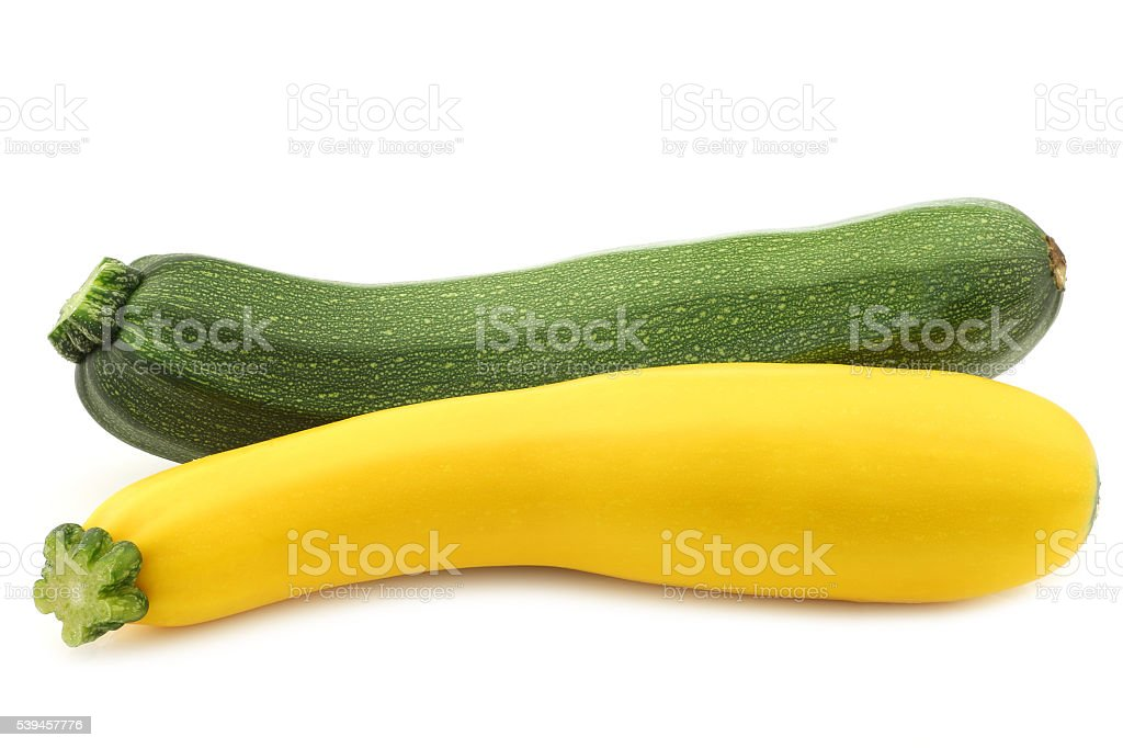 green and yellow zucchini (Cucurbita pepo) stock photo