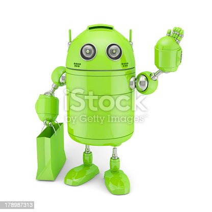 521048154 istock photo Green Android with shoping bag 178987313