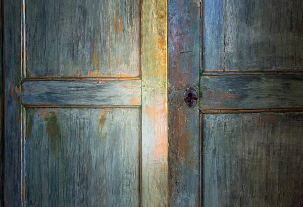 Green antique wooden door stock photo