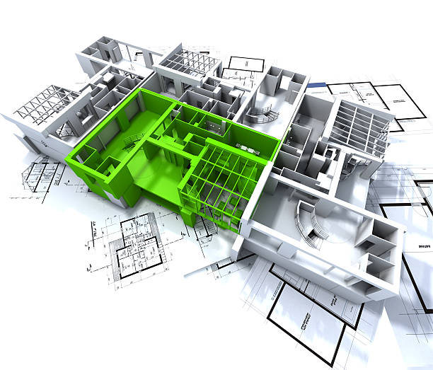 Green apartment mockup on blueprints stock photo