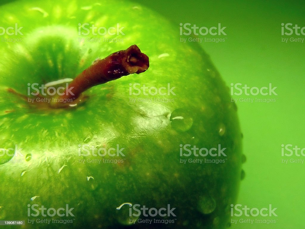 Green Apple 03 - Water Drop royalty-free stock photo