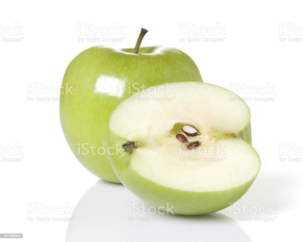 Green Apple And A Half stock photo