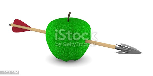 919544754 istock photo Green apple and arrow on white background. Isolated 3D illustration 1202110292