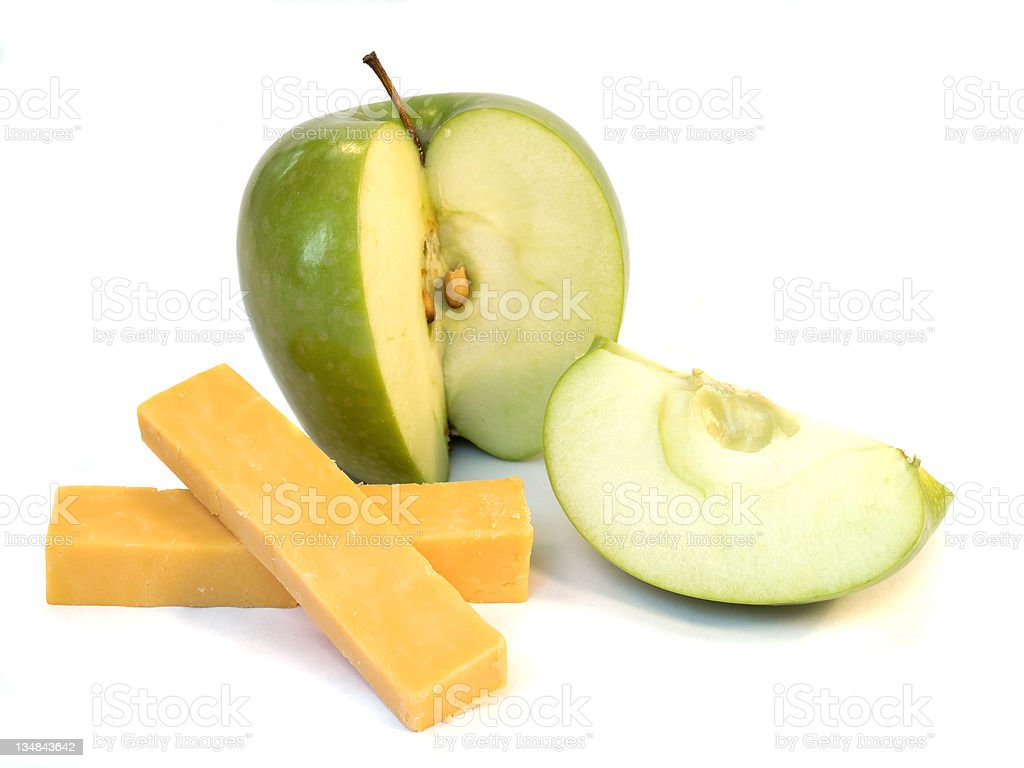 Green Apple and Cheese royalty-free stock photo