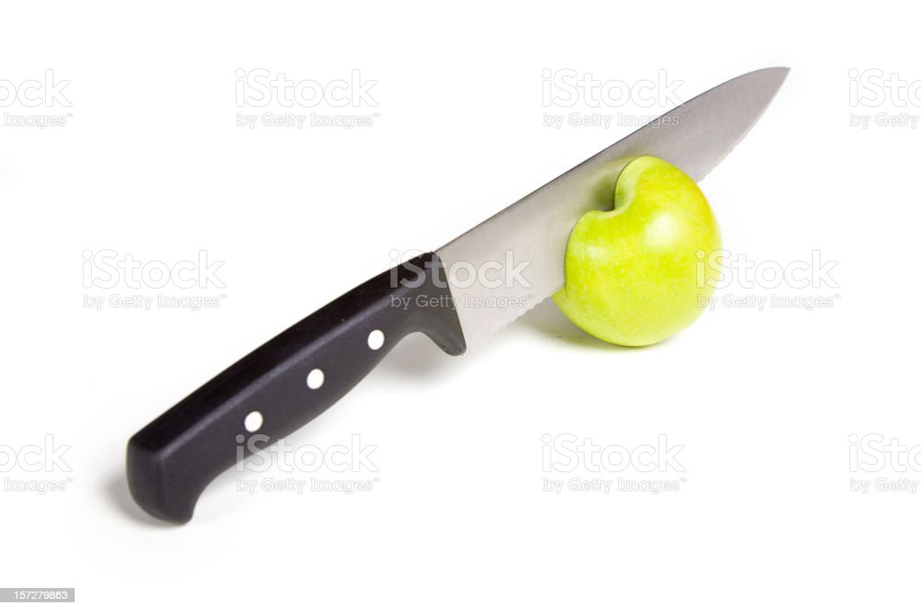 Green Apple and Knife royalty-free stock photo
