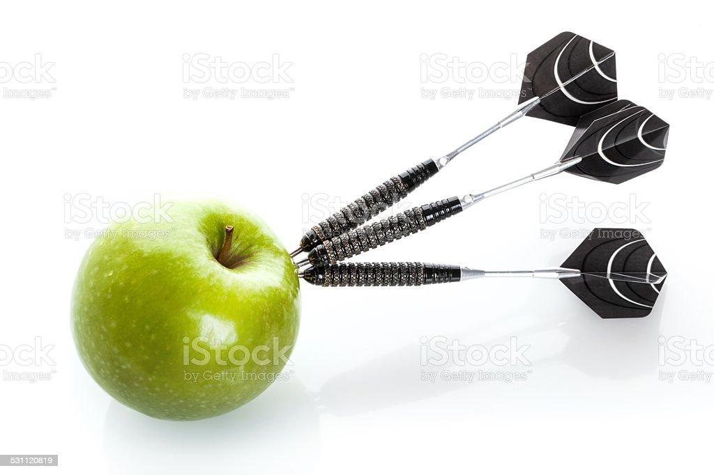 Green apple als Ziel für black steel Abnäher – Foto
