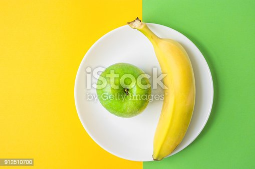 istock Green Apple Banana on White Plate on Contrast Background from Combination of Yellow and Green Colors. Vitamins Healthy Diet Spring Summer Detox Vegan. Poster Banner Template. Copy Space 912510700