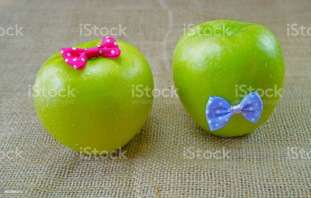 Green apple couple with bow ties, couple concept - Royalty-free Apple - Fruit Stock Photo