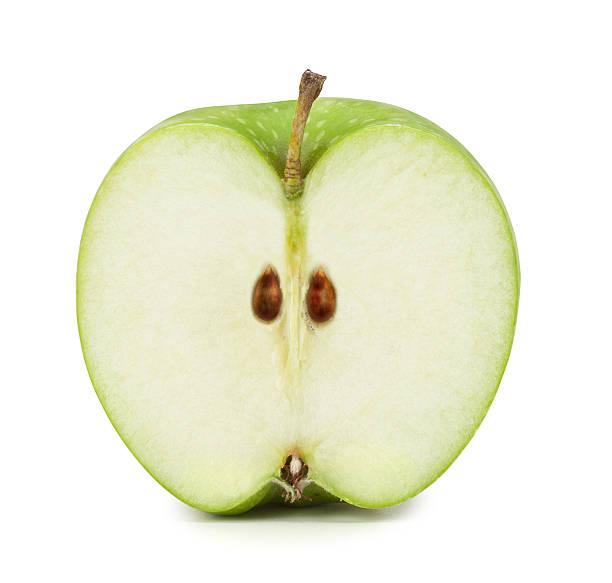 グリーンアップルの断面。クリッピングパスが含まれています。 ストックフォト