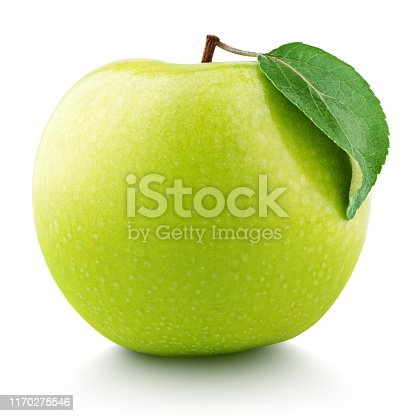 Single ripe green apple fruit with green leaf isolated on white background. Granny smith apple with clipping path. Full Depth of Field