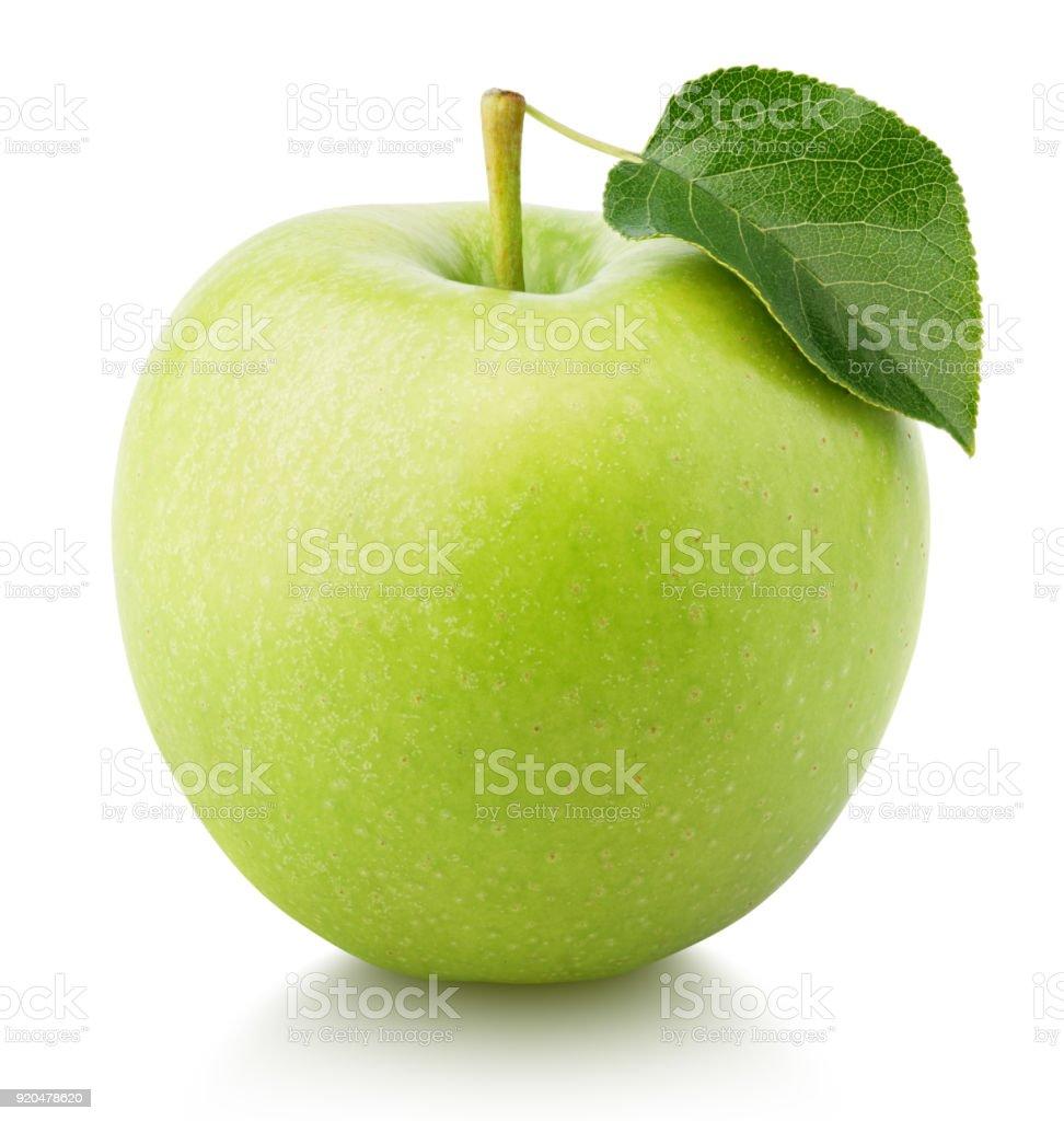 Frutas manzana verde con hojas verdes aisladas en blanco foto de stock libre de derechos