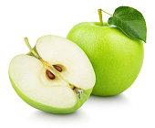 半分と緑緑リンゴ果実葉に分離ホワイト