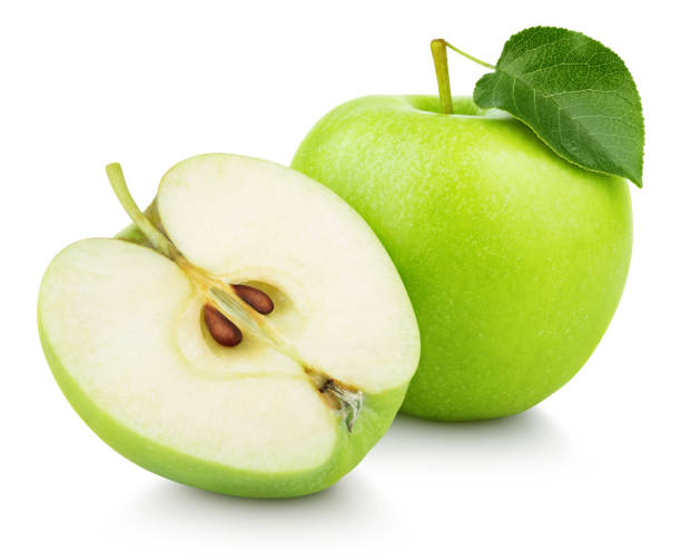 Cтоковое фото Green apple fruit with half and green leaf isolated on white
