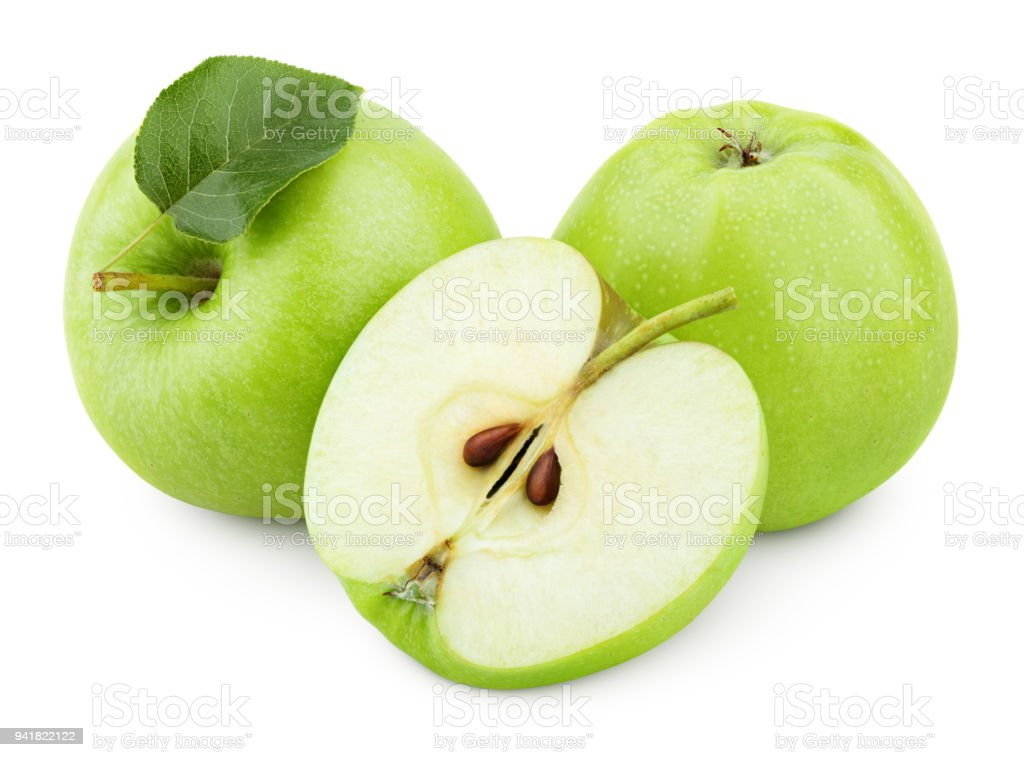 Green apple fruit with half and green leaf isolated on white stock photo