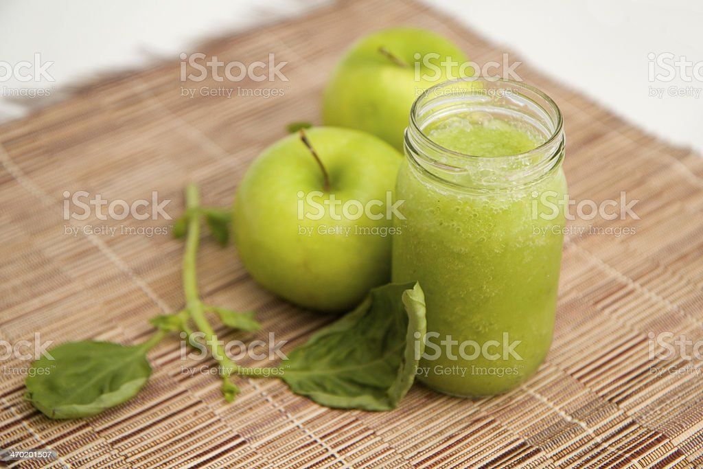 Green apple jam in a jar stock photo