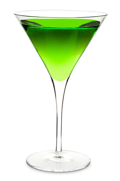 Green Apple Martini Cocktail Isolated on White Background stock photo