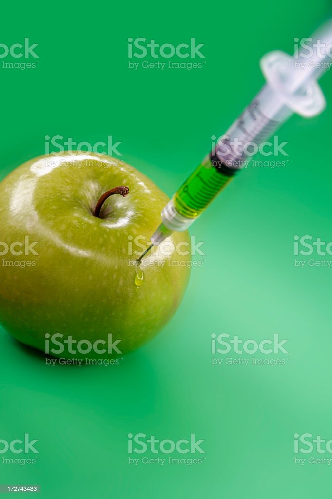 Green apple not organic? royalty-free stock photo