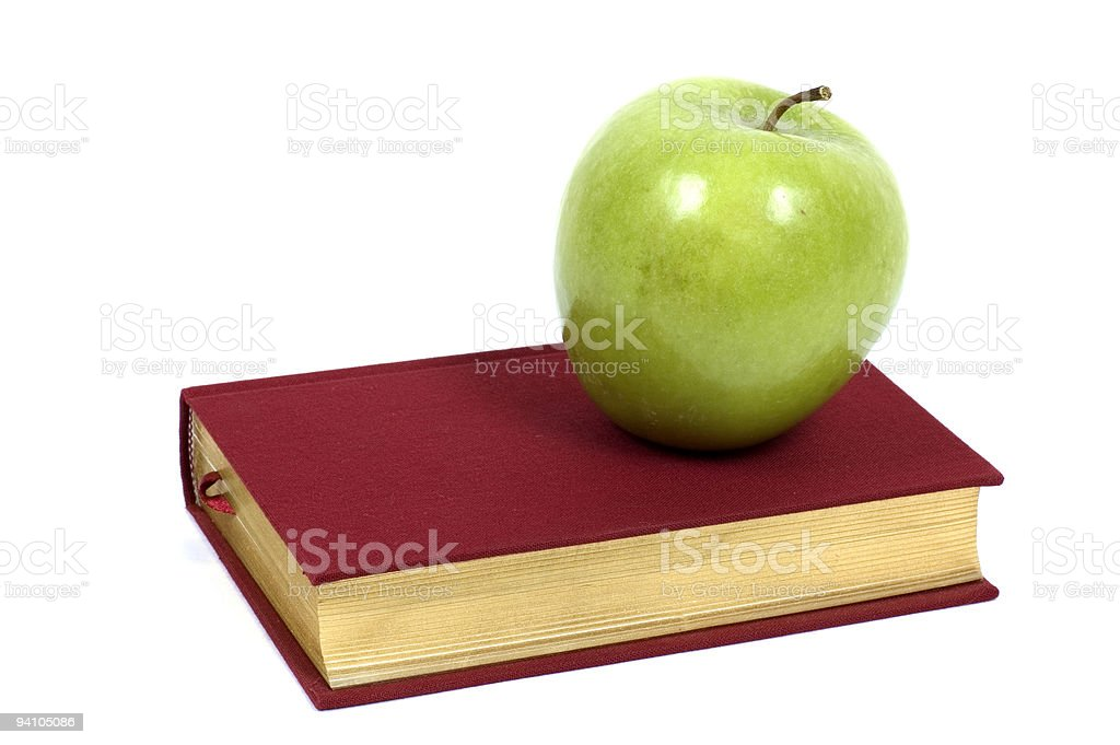 Green Apple on Book royalty-free stock photo