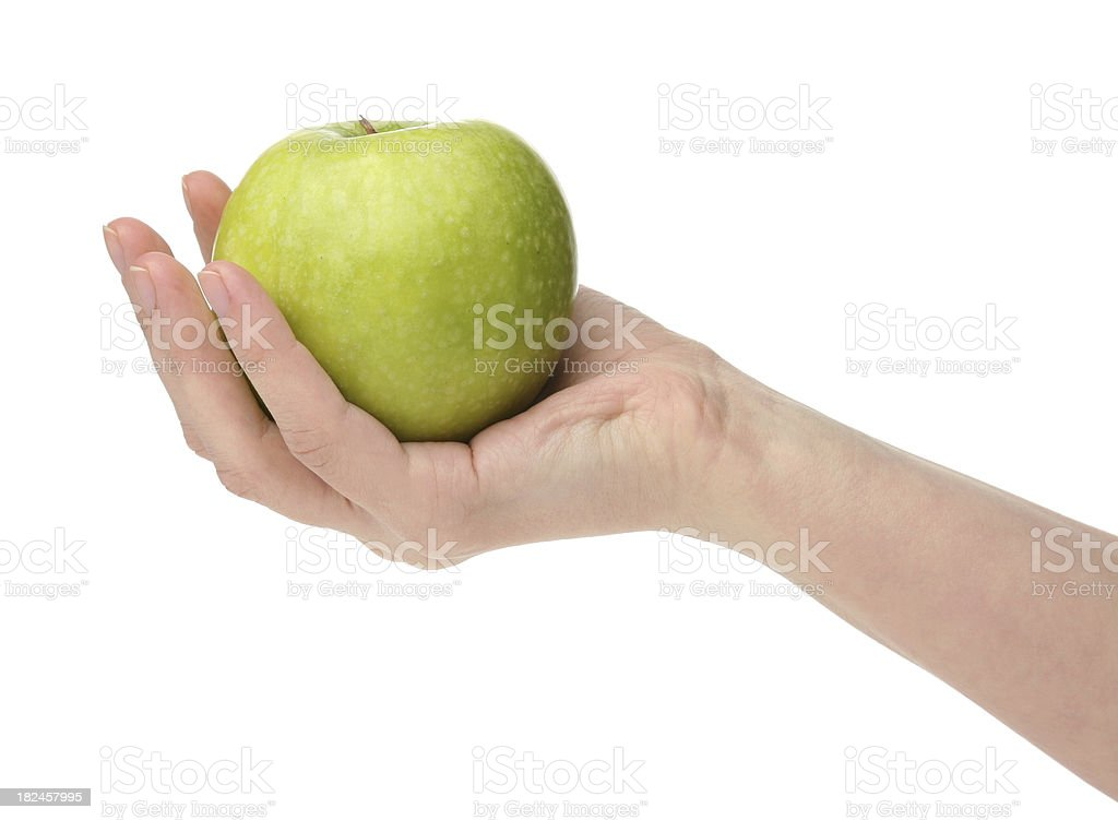 Green apple on mano foto de stock libre de derechos