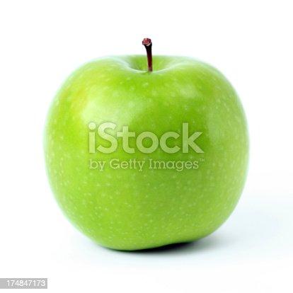 green apple on white.