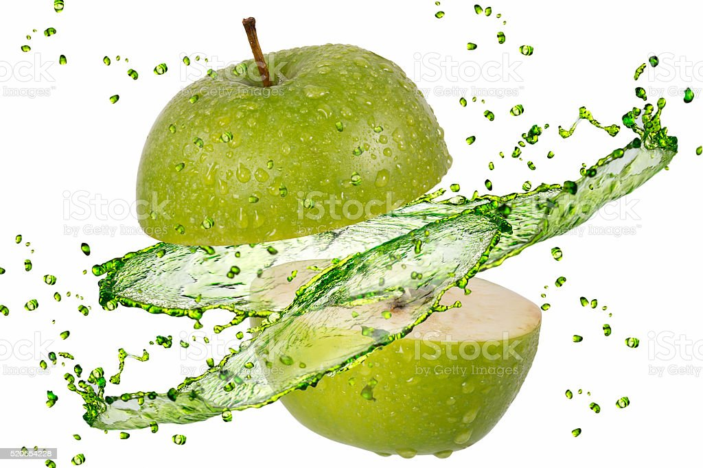 green apple splash on white stock photo