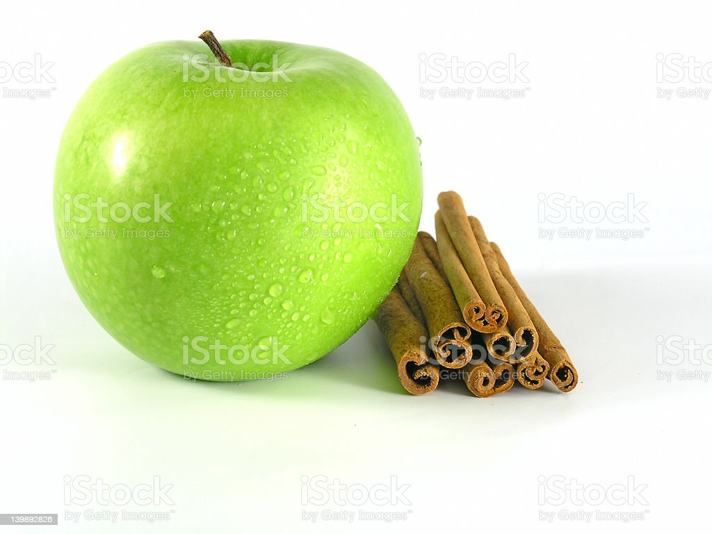 green apple with cinnamon royalty-free stock photo