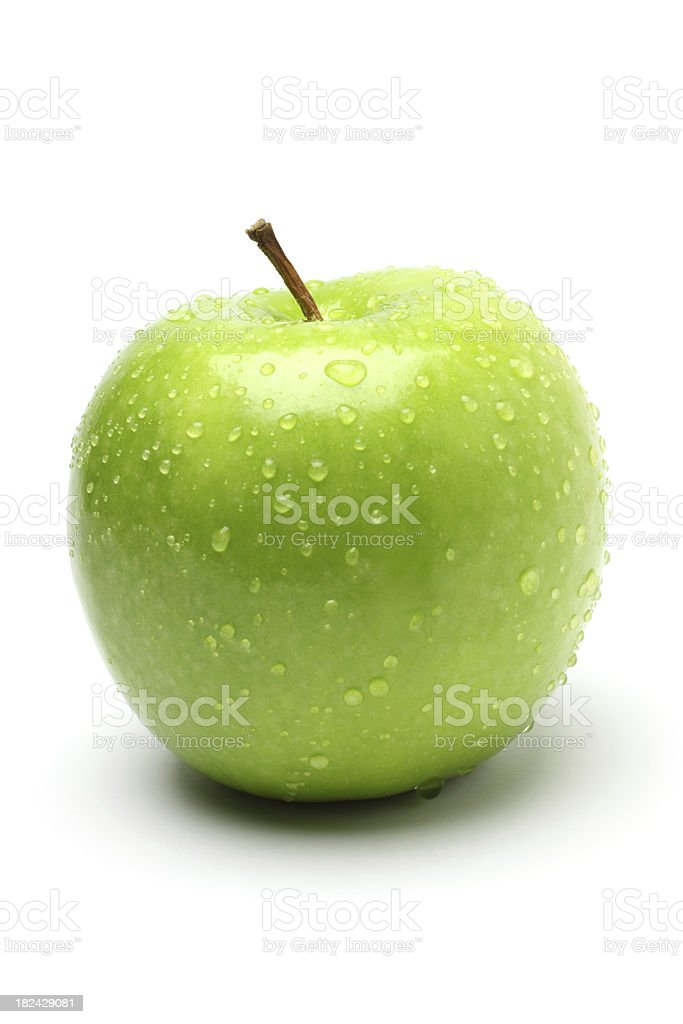 Green Apple with Droplet stock photo
