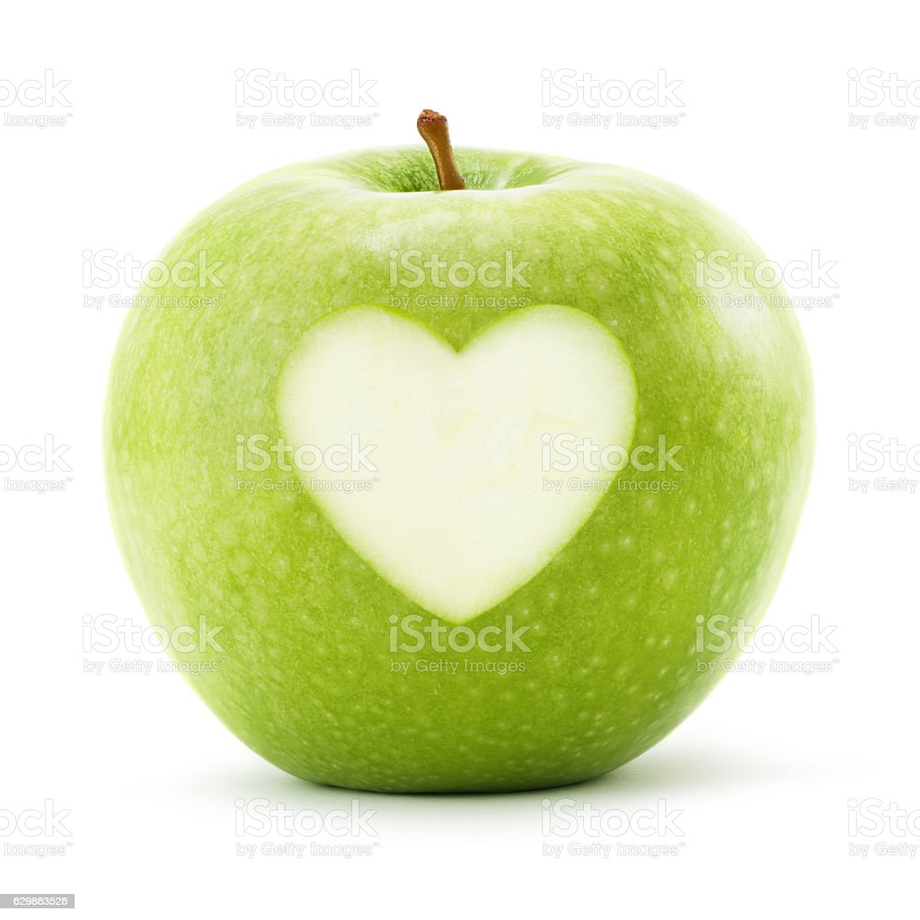 Green apple with heart symbol isolated on white. Clipping Path stock photo