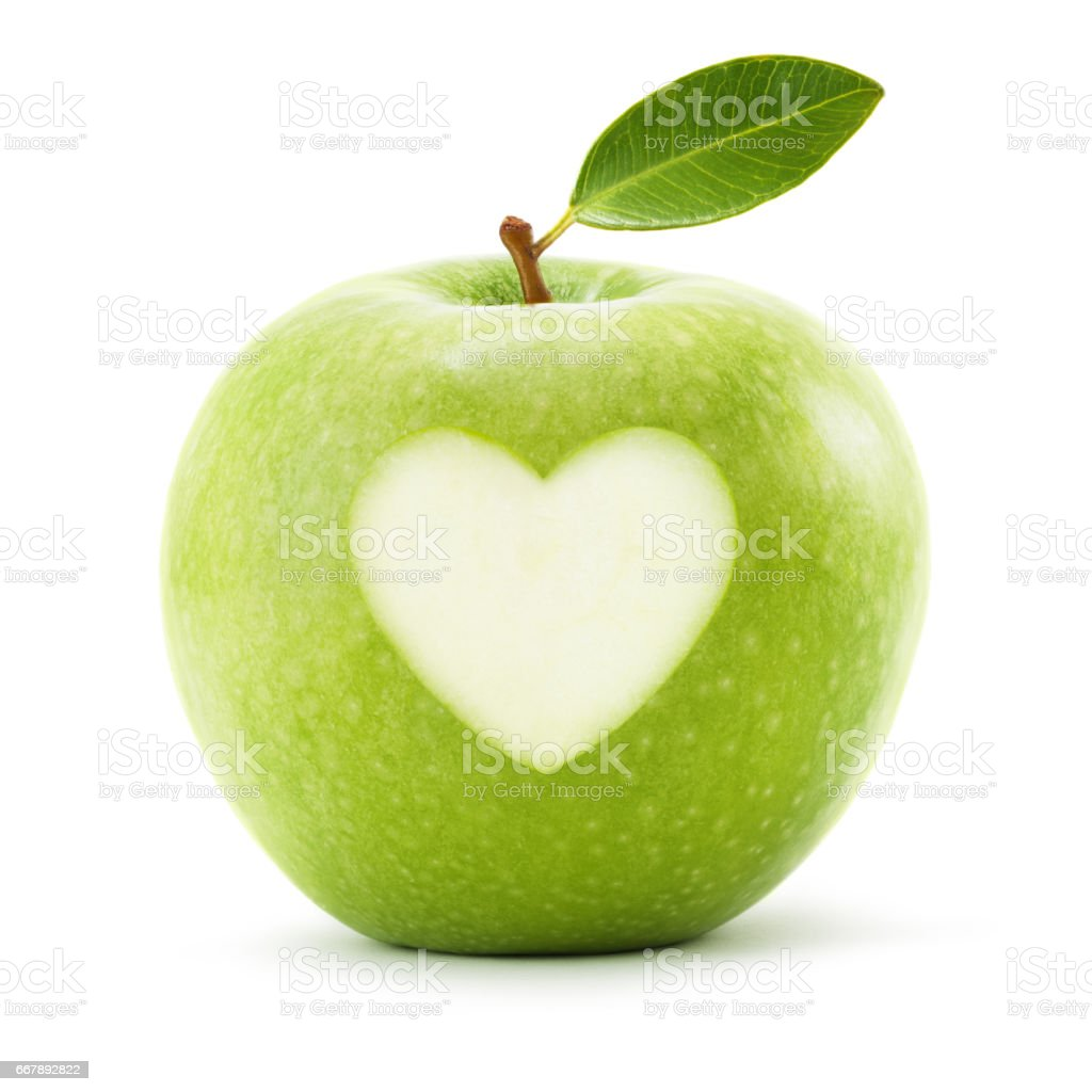 Green apple with leaf and heart symbol isolated on white background stock photo