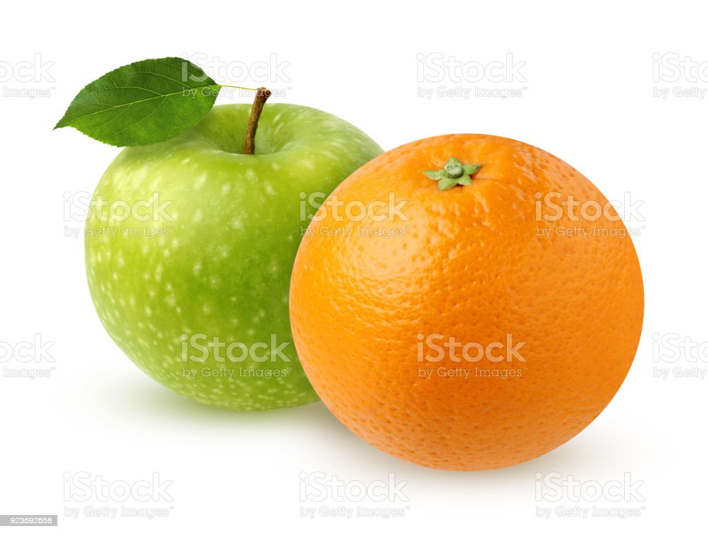 Green Apple with leaf and orange, isolated on white stock photo