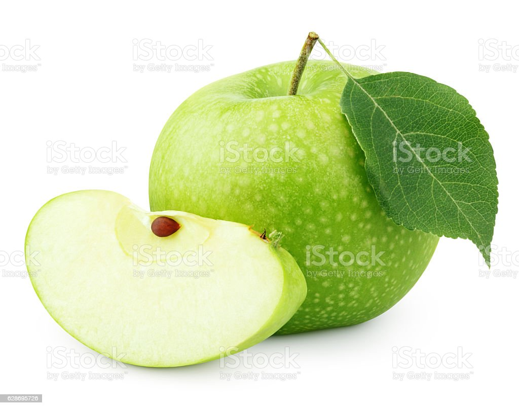 Green apple with leaf and slice isolated on white stock photo