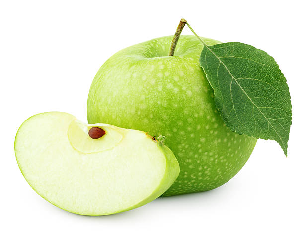 Green apple with leaf and slice isolated on white Ripe green apple with leaf and slice isolated on white background with clipping path granny smith apple stock pictures, royalty-free photos & images