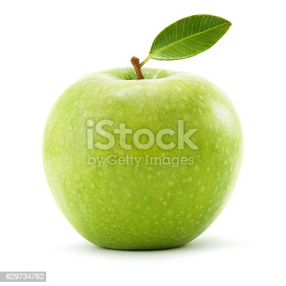Granny smith apple with leaf isolated on white background. Clipping path included.