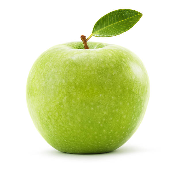 Green apple with leaf isolated on white. Clipping path included. stock photo