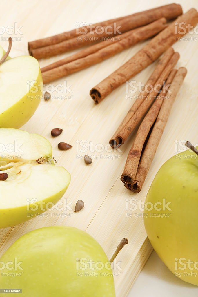 green apples and cinnamon royalty-free stock photo