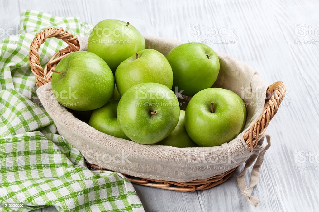 Green apples in basket stock photo