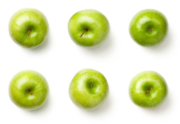 Green Apples Isolated on White Background Green apples isolated on white background. Granny smith apples. Top view granny smith apple stock pictures, royalty-free photos & images