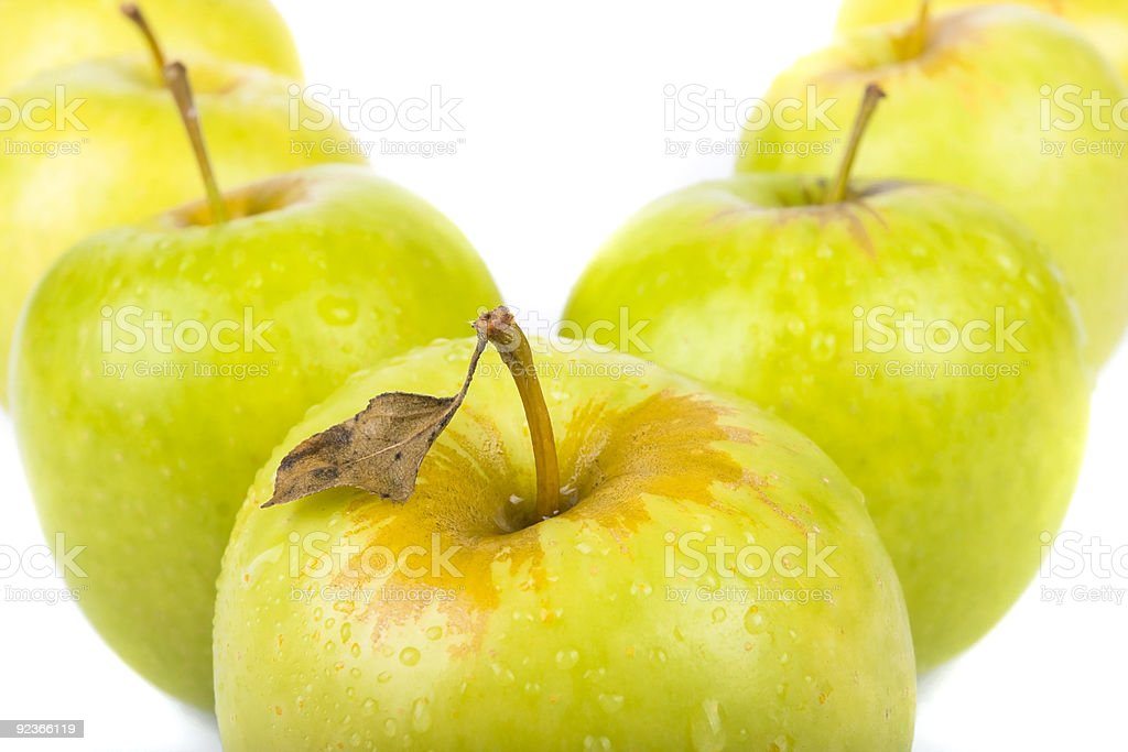 Green apples   isolated on white royalty-free stock photo
