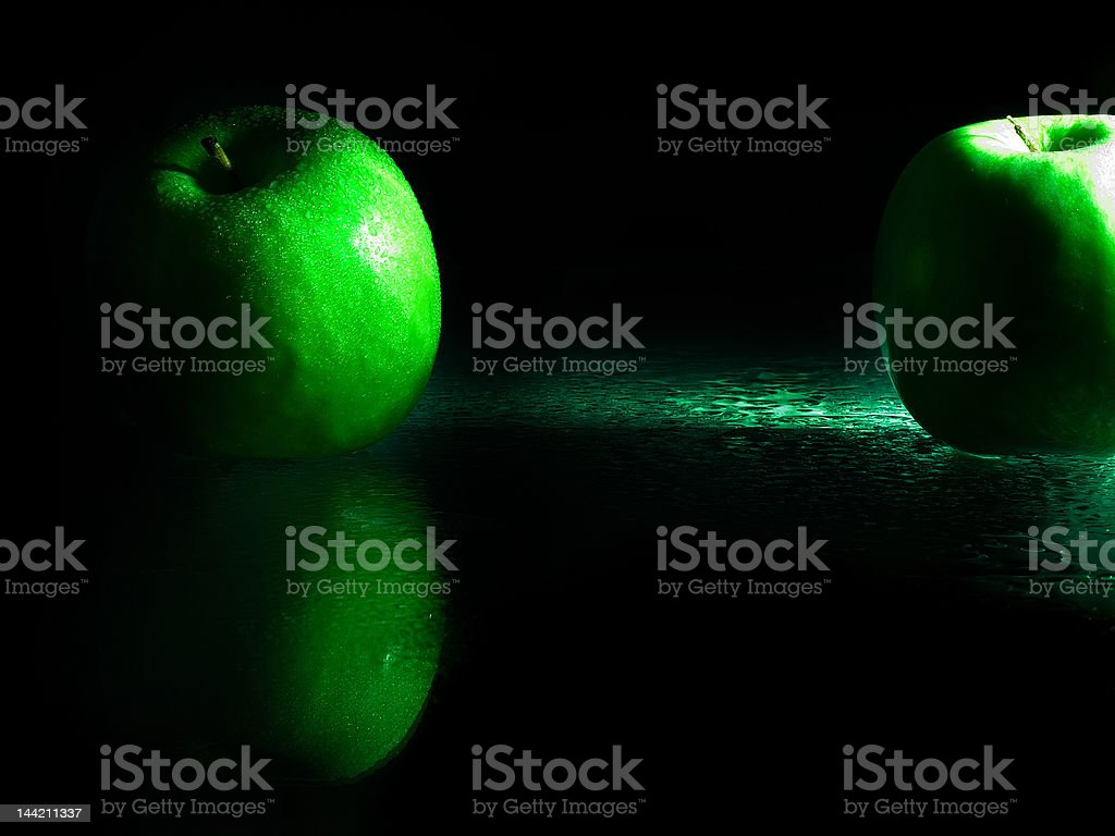 green apples on the glass royalty-free stock photo