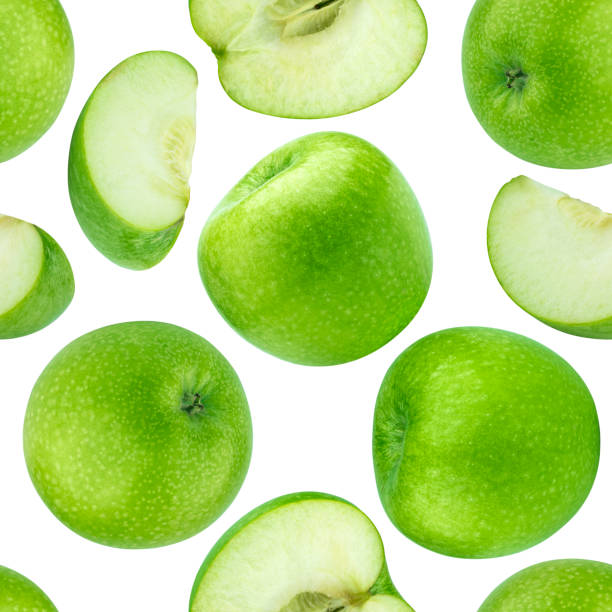 Green apples seamless pattern isolated on white background stock photo