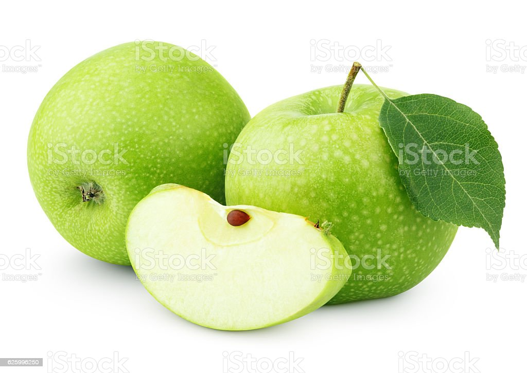 Green apples with leaf and slice isolated on white stock photo